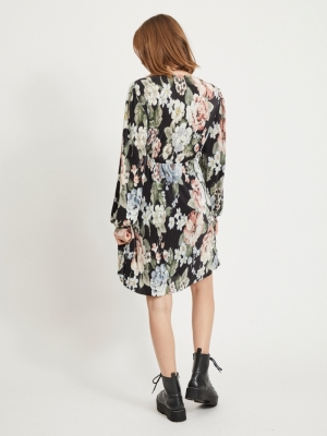 VIBLAMIA L-S WRAP PLISSE DRESS Black/BIG FLOWE