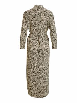 VILONNA L-S SHIRT DRESS -RX Sandshell/LEO