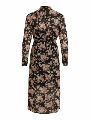 VIVINDI L-S SHIRT DRESS-OFW Black/FLOWER