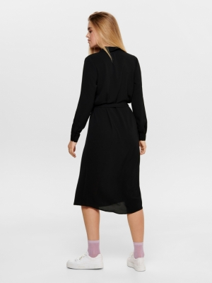 JDYPINTO L-S MIDI SHIRT DRESS Black