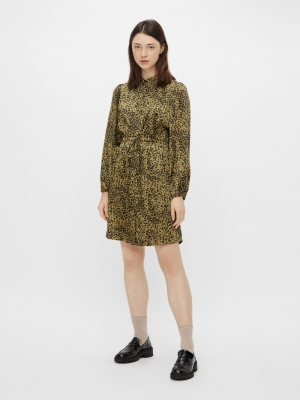 PCDANNI LS SHIRT DRESS D2D Black/OLIVE