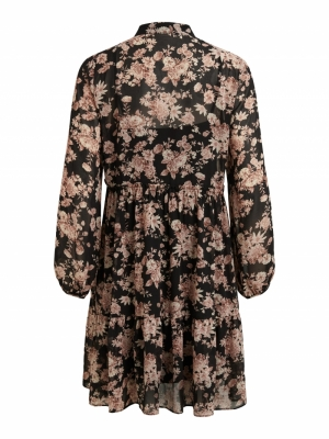 VIVINDI TULLAN L-S DRESS-OFW Black/FLOWERS