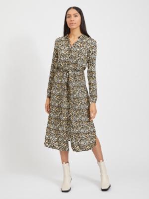 VITENDI L-S SHIRT DRESS-OFW Black/FLOWER PR