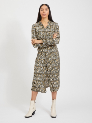 VITENDI L-S SHIRT DRESS-OFW Black/FLOWER PR