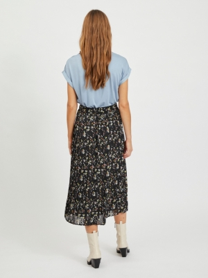 VIBLOSSOMS HW MIDI SKIRT-PB Black/W CD/BURN