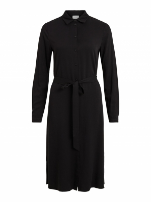 VIDANIA BELT L-S SHIRT DRESS-S Black