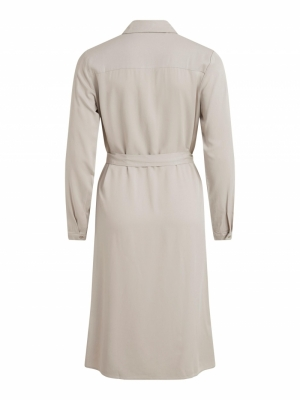 VIDANIA BELT L-S SHIRT DRESS-S Dove