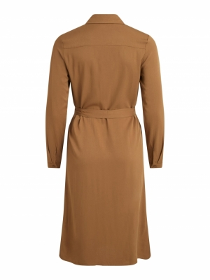 VIDANIA BELT L-S SHIRT DRESS-S Butternut