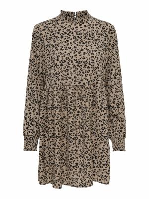 JDYPIPER L-S SHORT DRESS WVN N Silver Mink/BLA