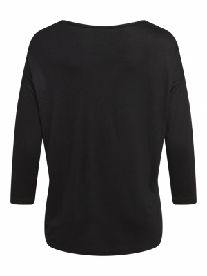 VISCOOP O-NECK 3-4 TOP-SU - NO Black