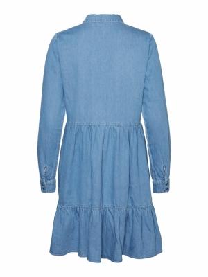 VMMARIA FRILL LS SHORT DRESS M Light Blue Deni