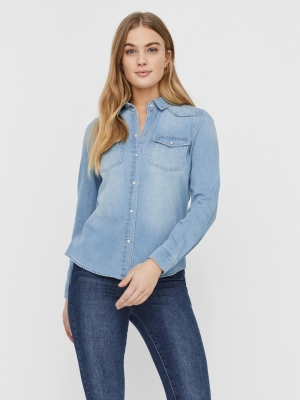 VMMARIA LS DNM SLIM SHIRT MIX Light Blue Deni