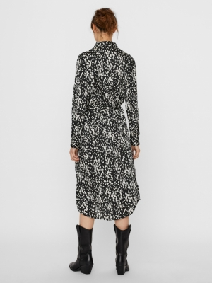 VMBECKY L-S SHIRT CALF DRESS S Black/BECKY