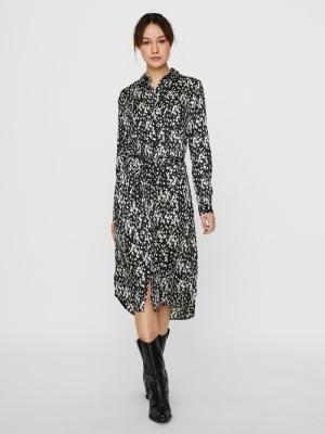 VMBECKY L-S SHIRT CALF DRESS S Black/BECKY