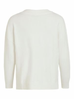 VIRIL OVERSIZE V-NECK KNIT TOP White Alyssum