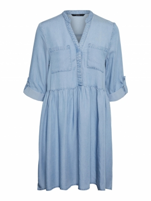 VMLIBBIE 3-4 LOOSE TUNIC GA CO Light Blue Deni