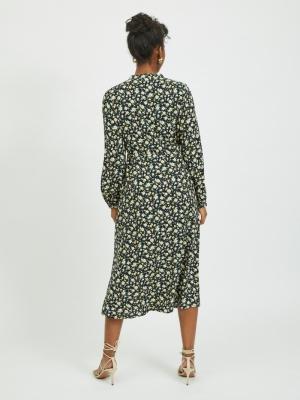 VITIMIA L-S TIE MIDI DRESS SU- Black/FLOWER
