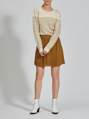 VIEDIE O-NECK L-S  KNIT TOP Whisper White/B