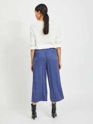 VIFANZA HW CROPPED PANTS-PB Medium Blue Den