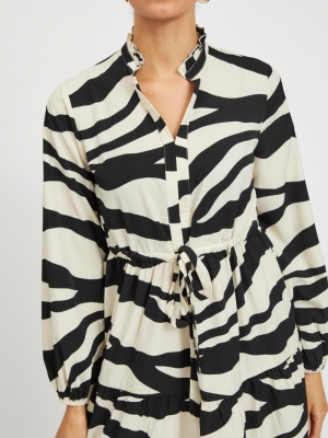 VIOMINA L-S DRESS-SU Black/LARA PRIN