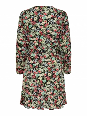 ONLCARLY L-S WRAP SHORT DRESS Black/Flora Flo