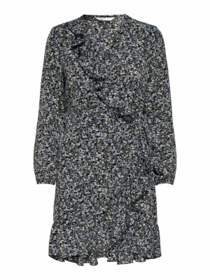 ONLCARLY L-S WRAP SHORT DRESS Black/HILL Flow