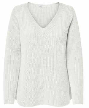 ONLSOOKIE L-S V-NECK PULLOVER Cloud Dancer