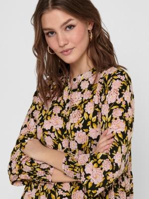 JDYCARMEN L-S SHORT DRESS WVN Black/BIG ROSE