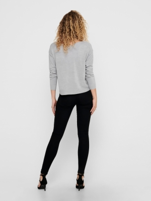 ONLAMALIA L-S BOATNECK PULLOVE Light Grey Mela