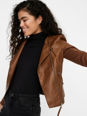 VMRIAFAVO SHORT COATED JACKET Cognac