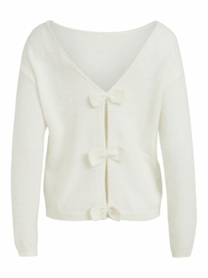 VIFEAMI KNIT L-S BOW TOP-L-SU Cloud Dancer