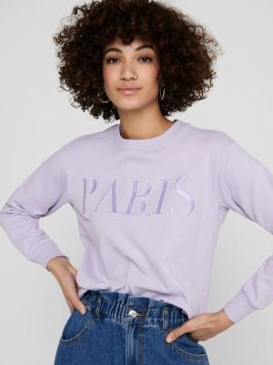 JDYPARIS LIFE L-S  SWEAT JRS R Pastel Lilac/PA