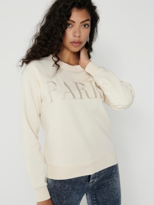 JDYPARIS LIFE L-S  SWEAT JRS R Tapioca/PARIS E