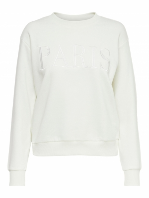 JDYPARIS LIFE L-S  SWEAT JRS R Cloud Dancer/PA