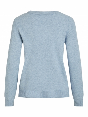 VIRIL O-NECK L-S  KNIT TOP - N Ashley Blue/MEL