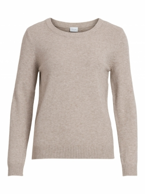 VIRIL O-NECK L-S  KNIT TOP - N Natural Melange