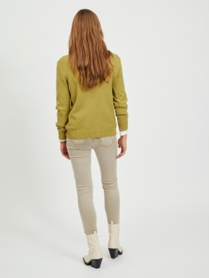VIRIL O-NECK L-S  KNIT TOP - N Green Olive/MEL