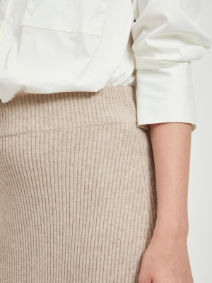 VIRIL PENCIL HW KNIT SKIRT - F Natural Melange