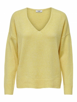 JDYGITTA LIFE L-S V-NECK PULLO Yellow Cream/ME