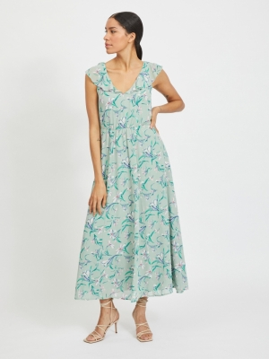 VIMICADA S-L FRILL ANKLE DRESS Jadeite/FLOWER