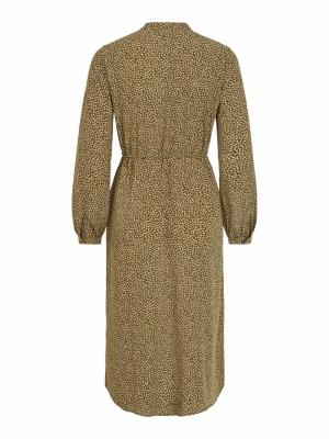 VIKOLINA L-S TIE STRING DRESS- Pesto/LEAVES