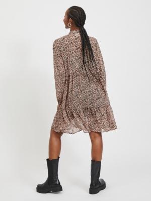 VITULLAN L-S DRESS-SU Black/FLOWER PI