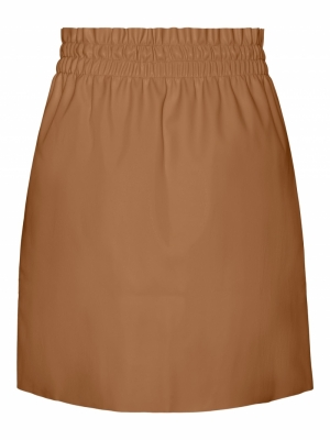 VMAVA HW SHORT COATED SKIRT Tobacco Brown