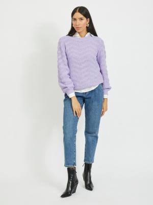 VIWISAH L-S O-NECK KNIT-SU Lavender