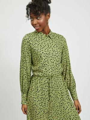 VIGREENAS L-S ANKLE DRESS Green Olive/BLA