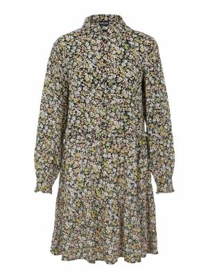PCTY LS SHIRT DRESS D2D Black/FLOWERS
