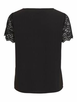 VILOVIE S-S LACE TOP-SU - NOOS Black