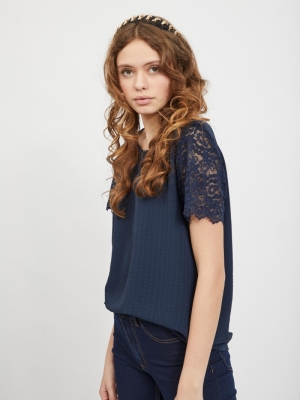VILOVIE S-S LACE TOP-SU - NOOS Navy Blazer