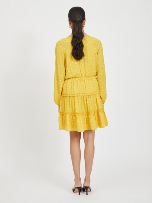 VIDOTTIES L-S DRESS-PB Spicy Mustard/W