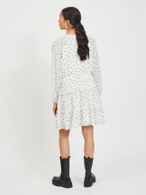 VIDOTTIES L-S DRESS-PB Cloud Dancer/W.